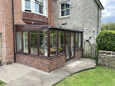 Used Large Wood Effect UPVC Conservatory 4580 x 3090 With French Doors
