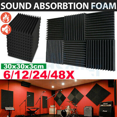 6/12/24x Acoustic Panels Tiles Studio Sound Proofing Insulation Closed Cell Foam