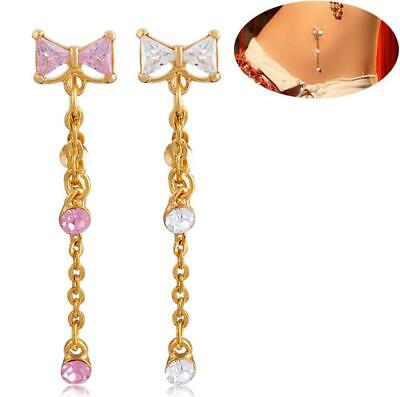 Bow Belly Button Bars CZ Gem Navel Bar Ring Dangle Chain Body Piercing Jewellery