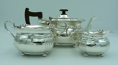 1920's Antique Solid Silver Tea Set Service - TeaPot Milk Jug Sugar Bowl - 1109g