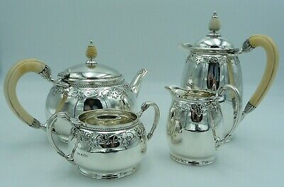 1920's Silver Tea Set Mappin & Webb Teapot Hot Water Pot Cream Jug Sugar Bowl