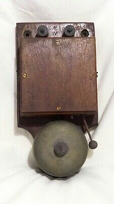 Antique Wooden and Brass Electric Doorbell By Maxwell dated 1917 – working