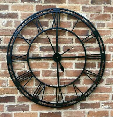 Large Black Wrought Iron Wall Clock - Indoor or Outdoor - 100cm - RRP £100