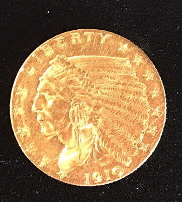 CRISP 1910 $2.5 Liberty Dollar Gold Indian Chief Head Eagle strong Old COIN