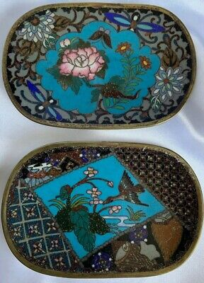 Pair Of Antique Chinese Cloisonné Trinket Dishes