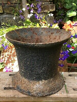 Huge Large Heavy Early Cast Iron Mortar Antique Kitchen Utensil Holder Doorstop