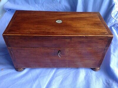 Antique Georgian Padouk Tea Caddy. Unusual proportions and fine original colour
