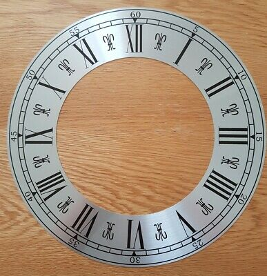 NEW - 12 Inch Chapter Ring Clock Zone Dial Face - Silver 305mm Roman Numerals
