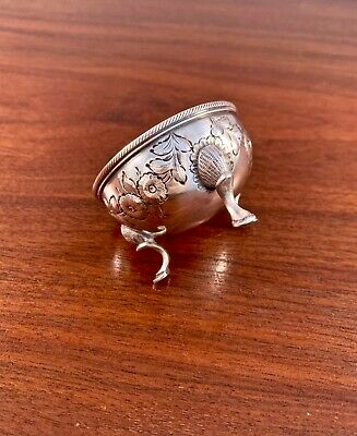 Early American Coin Silver Footed Salt Cellar Floral Repousse - No Monogram