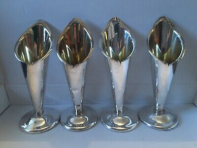 4 Vintage Silver Plated Tulip Vases