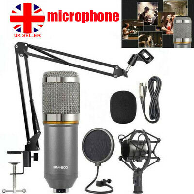 Broadcasting Audio Studio Mic Condenser Microphone Kit Arm Stand Mount Filter UK