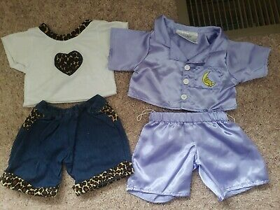 Build A Bear Clothes Lot Of 4, silky purple pajamas & leopard  jean shorts & top