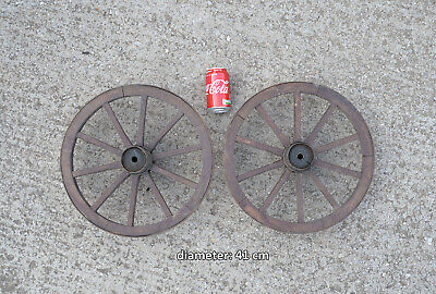 2x  vintage old wooden cart carriage wagon wheels wheel - 41 cm