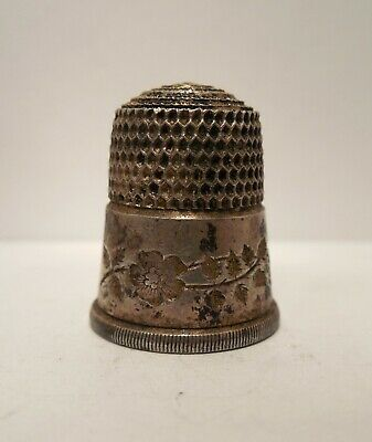 Vintage-Antique-Simons Brothers-Flowers & Leaves-Sterling Silver-Thimble-Size 11