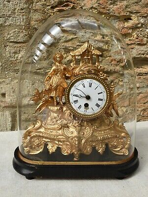Antique French Gold Gilded Spelter Figural Enamelled Faced Mantle Clock.