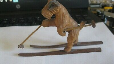Vintage 1930s Miniature Hand Carved Wood Schnauzer Dog with skies 2.5 high super