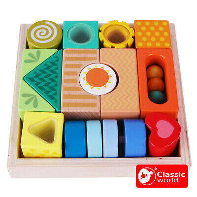 Sensory Traditional WOODEN EXPLORATION BUILDING BLOCKS Baby Preschool - ECO Wood