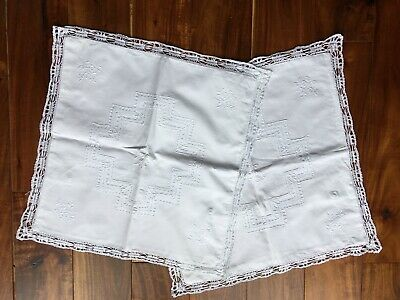 Two Square  Antique /Vintage  White Embroidered Cushion Covers