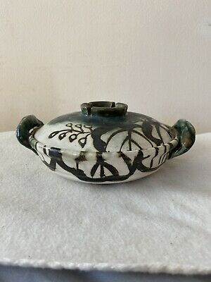 Signed Japanese Oribe Pottery Covered Box Bowl Double Handled  Vintage