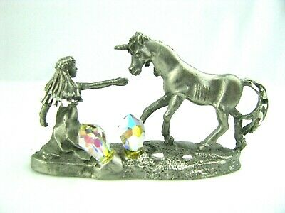 Vintage BKS Fine Pewter Girl Reaching Out to Unicorn And Amazing Crystals