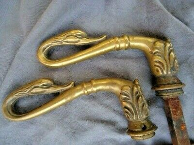 Rare 18Th Century Brass Swan Handles And Door Handle Plate With Key Hole