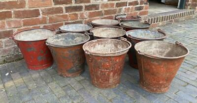 Vintage Red Painted Metal Buckets - with Handles - Reclaimed Salvage