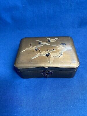 Vintage Antique Japanese Gold Lacquer Box Decorated with Cranes