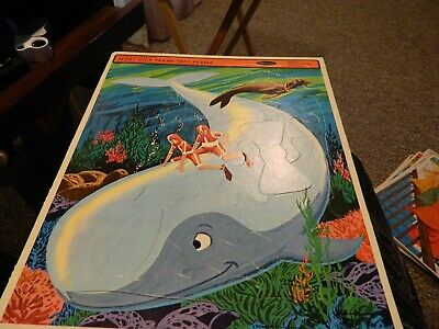 "1968 Hanna-Barbera's MOBY DICKTV Cartoon~FRAME TRAY PUZZLE~WHITMAN 14.5""x11.5"""