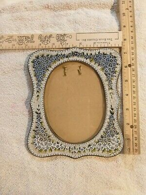 Antique Victorian micro mosaic picture  frame with raised flowers