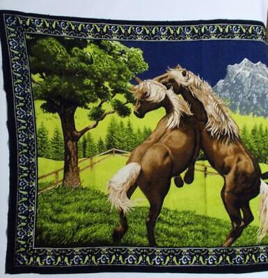 Horse Tapestry Wall Hanging Vintage Cotton ATC 33 x 54