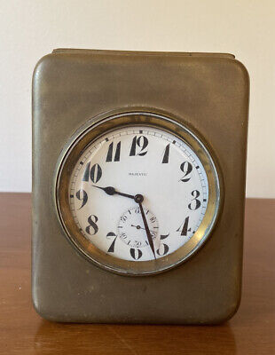 Majesctic Pocket Wall Watch Swiss Clock Antique Rare Brass Vintage Sterling