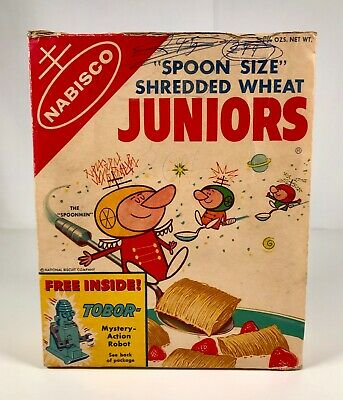 Vintage 1950s Nabisco Cereal Box Spoonmen Space Men Tobor Robot Toy Premium