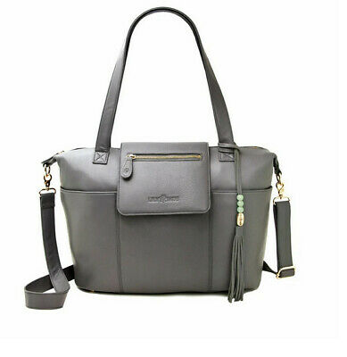 Lily Jade Madeline leather diaper bag- gold and gray USED- Good condition- $345