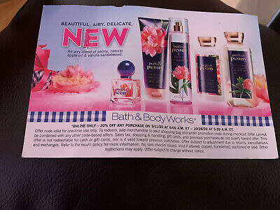 1 Bath & Body Works Coupon 20% Off Only VALID UNTIL 10/26/20