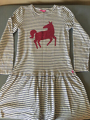 Joules Age 11-12 Girls Navy Blue Stripy Jersey Dress Pink Horse Design On Front
