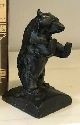 One Black Bear Cast Iron Bookend Doorstop Vintage