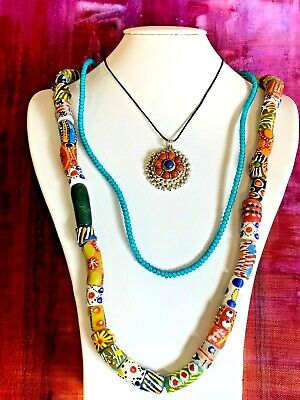 African Recycled Glass Beads and Tibetan Silver Pendant