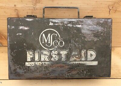 Vintage Military Metal Medical Supply Co. First Aid Kit Intact