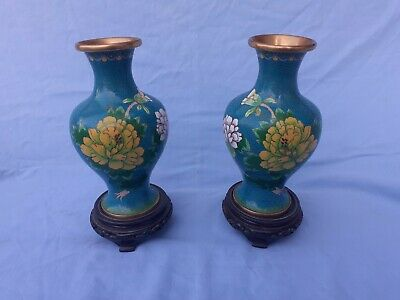 Pair of Mirror Cloisonne Vases with Stands