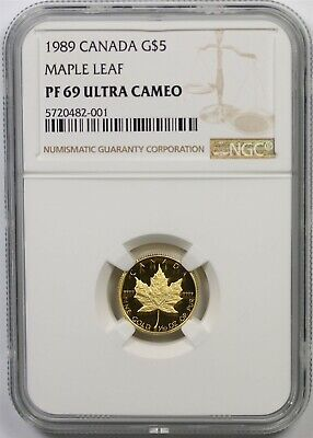 1989 Canada Maple Leaf Gold $5 NGC PF 69 Ultra Cameo