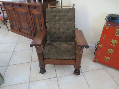 Antique Morris Chair By Royal Co. with Massive Claw and Ball feet