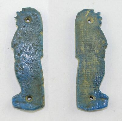 *Sc* Nice Large Egypt Sons Of Horus Faiance Amulet, In Torquise Blue!
