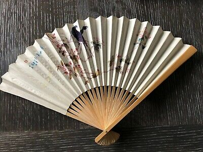 """Vtg Japanese Paper & Bamboo Foldable Fan Birds Branches Grapes 11.5"""""""