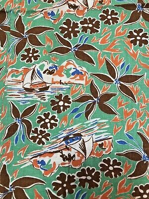 vintage cotton fabric feedsack tropical print remnant green boats