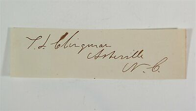 Original Confederate States Army General Thomas Clingman Cut Signature Autograph