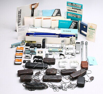 Huge Of Lot Minox Subminiature Accessories + Cameras, Cases, Manual, Tripod Etc