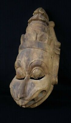HUGE 19thC. ANTIQUE WOODEN NARASIMHA MASK FROM SOUTH INDIA - 24 INCHES