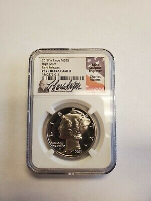 2018 W Eagle High Relief Early Release 1oz Palladium PF 70 Ultra Cameo