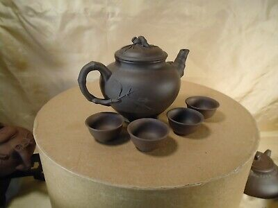Yixing Zisha Teapot Queen Elizabeth Design circa 1986 with 4 cups