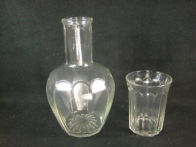 VINTAGE (c.1940) GLASS PITCHER AND CUP  FLOWER VASE